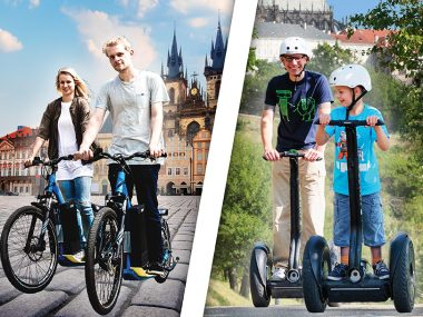 Segway and electric scooter riders in Prague